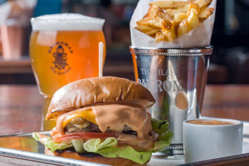 Helmsman Alge House Burger Fries and Beer